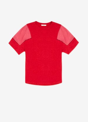 RED MIX LINEN/COTTON Tops - Bally