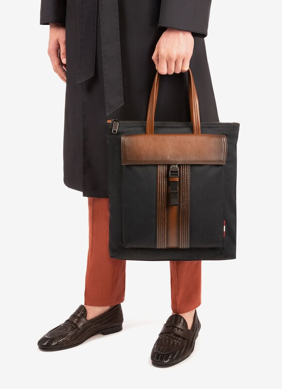 BLACK FABRIC Tote Bags - Bally